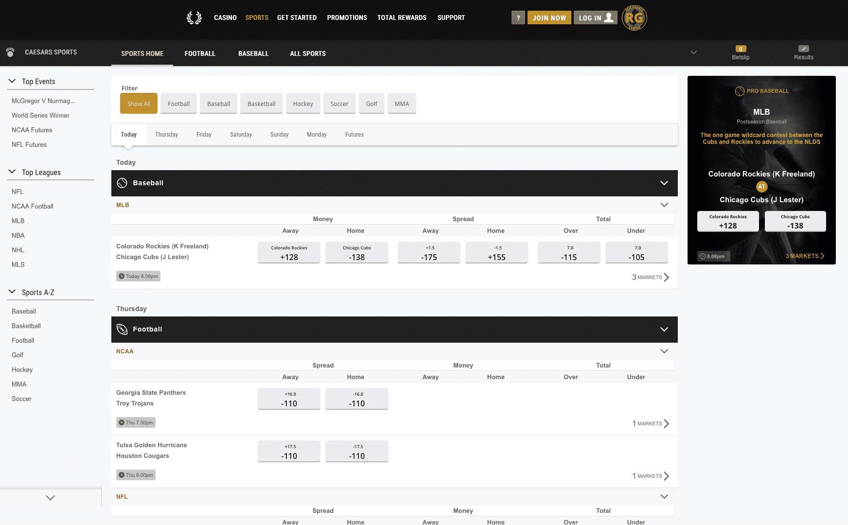 Caesars Sportsbook screenshot