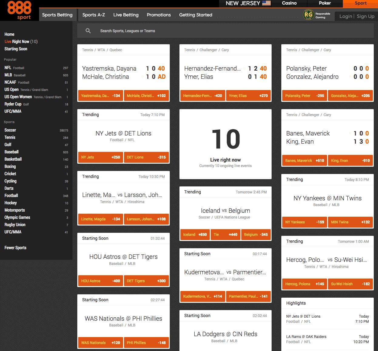 888sport NJ homepage