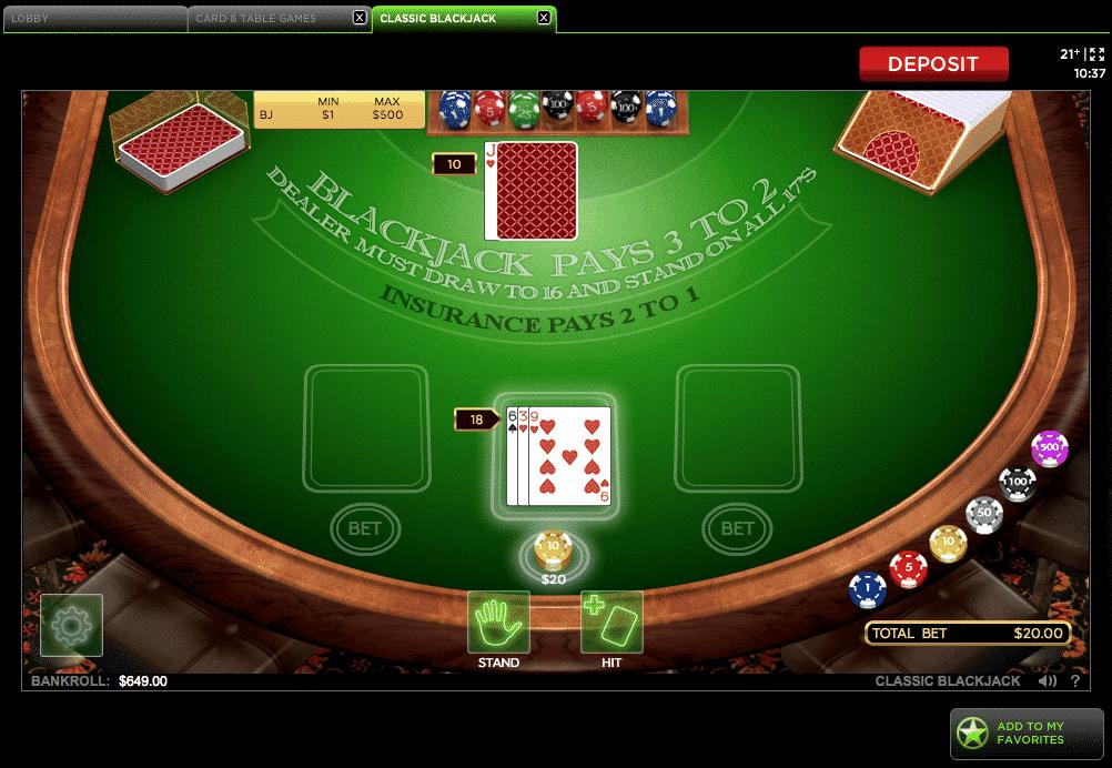 Harrington Gaming blackjack