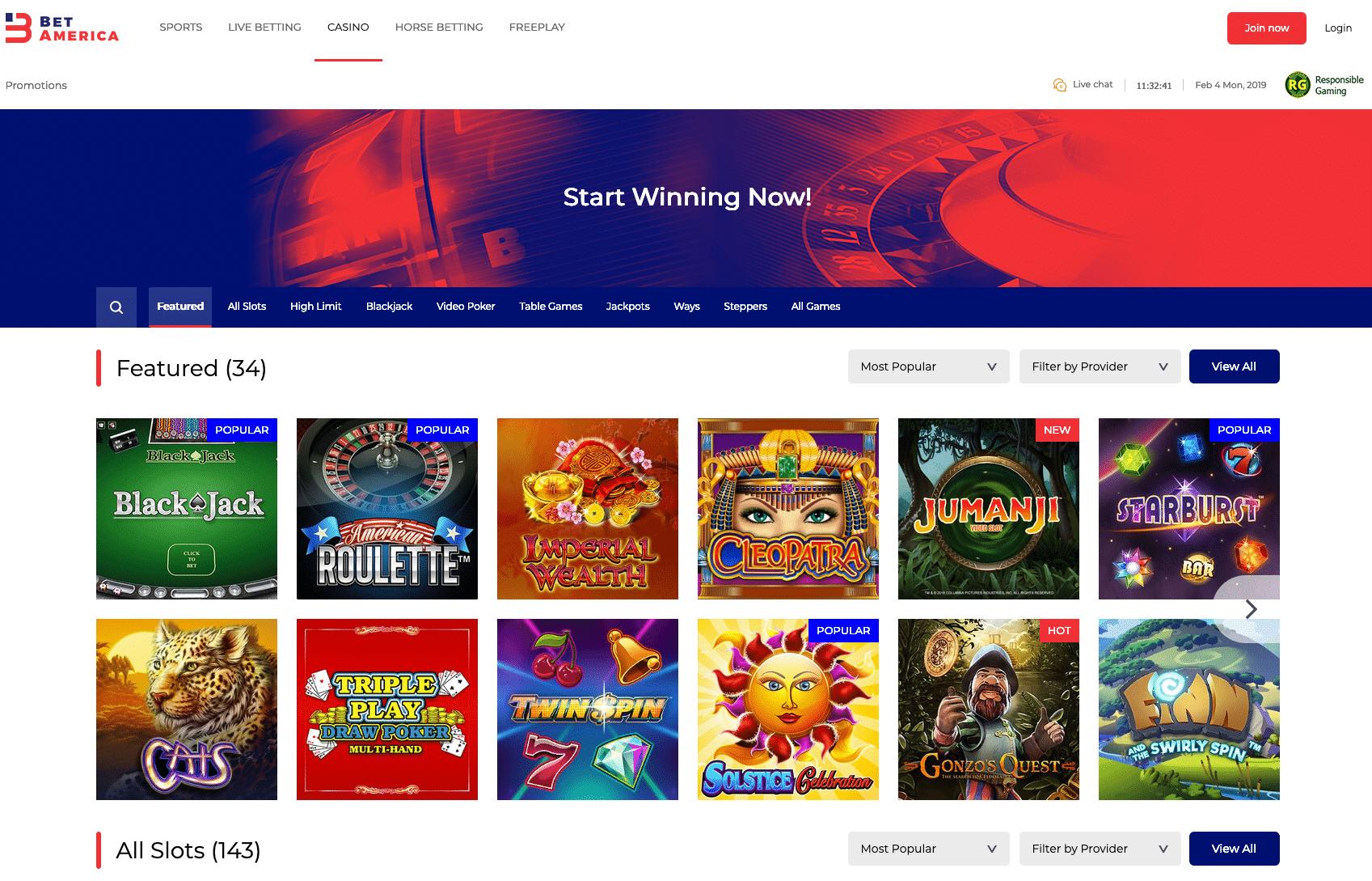 BetAmerica Casino screenshot