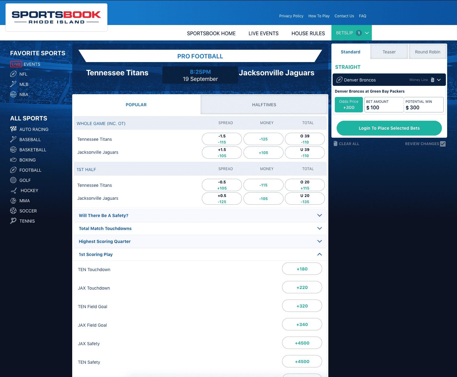Sportsbook RI NFL markets